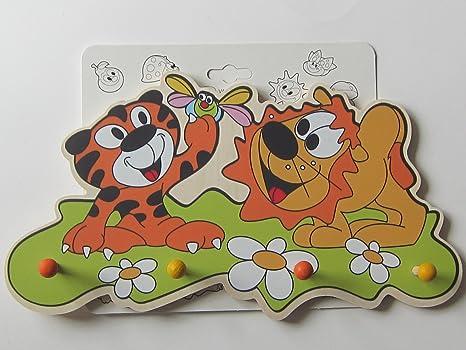 Hettich niños-perchero, colgadores, León + Tiger, madera, 30 ...