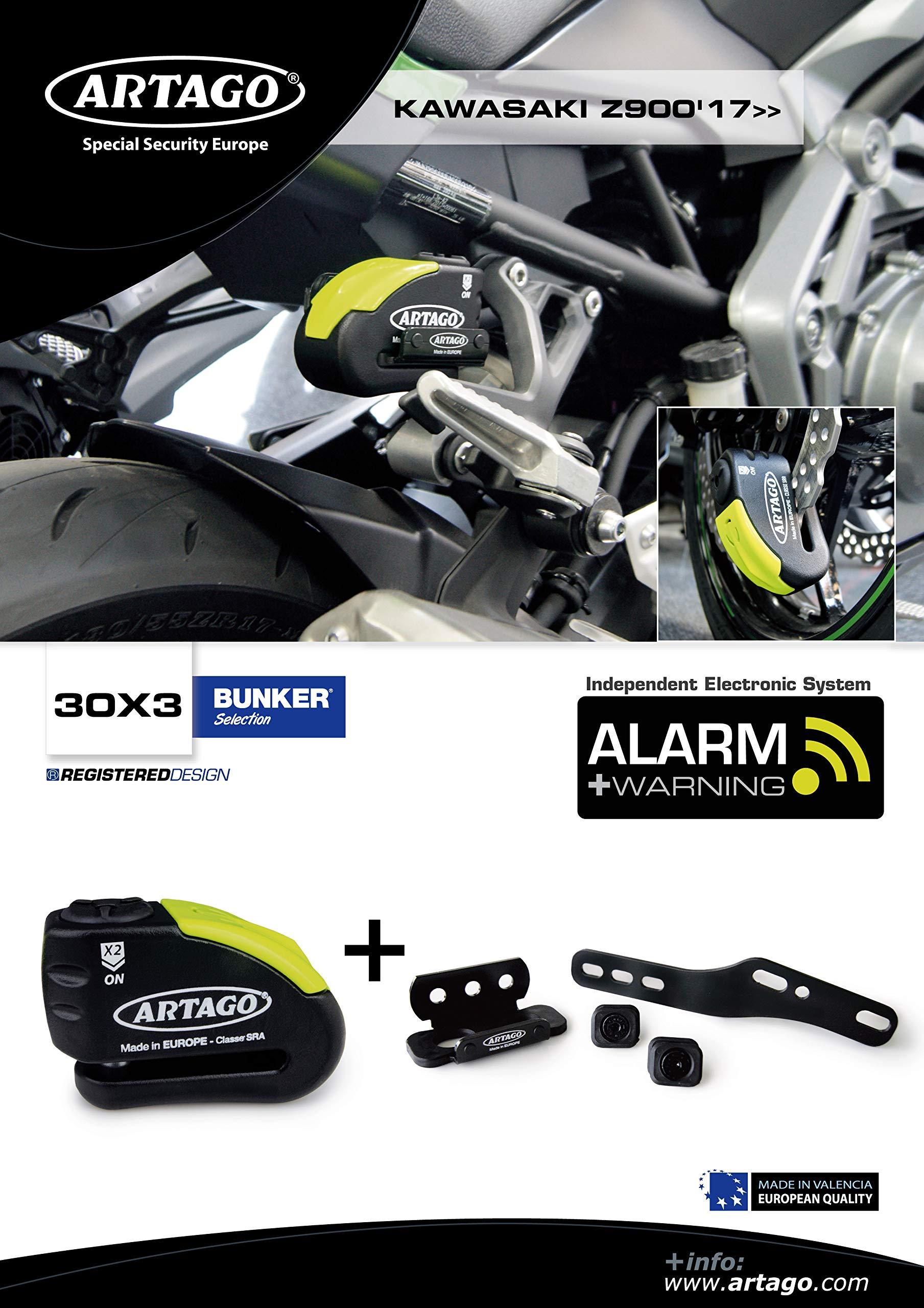 Artago 30X3 Anti-Theft Disc Lock with Alarm 120 dB High Range and Support for Kawasaki Z900 2017 2018