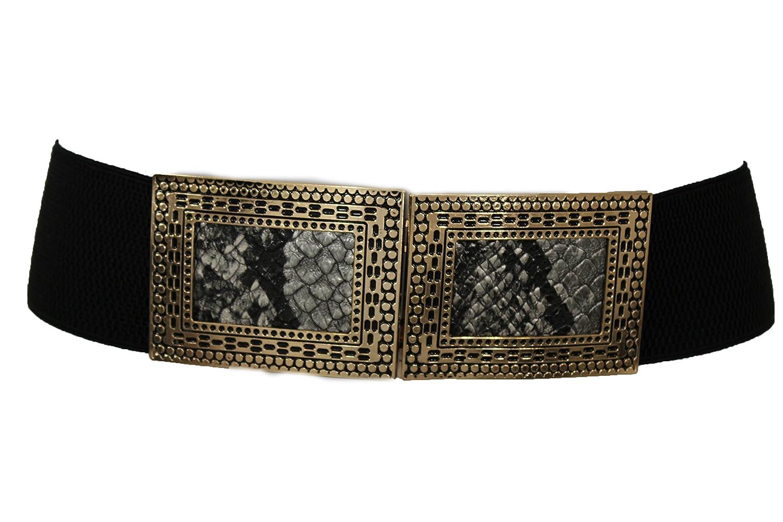 TFJ Women's Fashion Belt Hip High Waist Faux Snake Skin Gold Metal Buckle S M Black