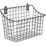 Spectrum Diversified Vintage Large Cabinet & Wall-Mounted Basket for Storage & Organization Rustic Farmhouse Decor, Sturdy Steel Wire Storage Bin, Industrial Gray