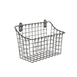 Spectrum Diversified Vintage Cabinet & Wall Mount Basket Large Industrial Gray 3 Ounce