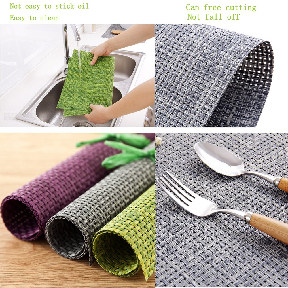 Amazon: Pvc Placemats,mate Woven Vinyl Washable Table Mats Heat Resistant Nonslip Placemats For Kitchen Dining  Set Of 6 (green): Home &  Kitchen