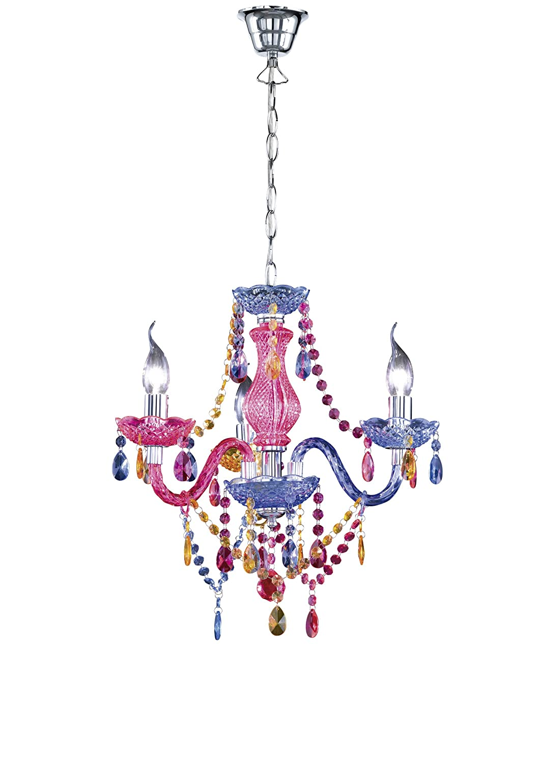 Reality r11073017 luster chandelier with chrome multi colour reality r11073017 luster chandelier with chrome multi colour amazon lighting arubaitofo Image collections
