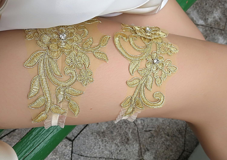 Abading Damen Hochzeit Strumpfb/änder f/ür die Braut Pailletten Spitze Braut Strumpfband Set