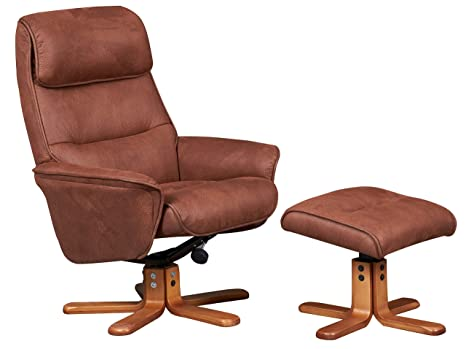 Sensational Gfa The Amalfi Suede Effect Fabric Recliner Swivel Chair In Tan Pabps2019 Chair Design Images Pabps2019Com