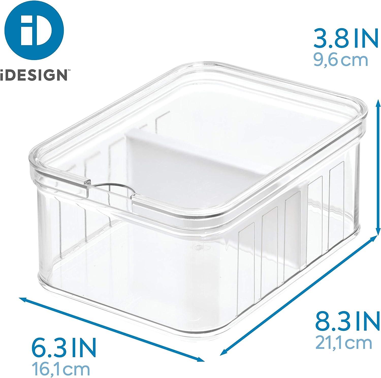 Caja de pl/ástico Libre de BPA Organizador de Nevera o despacho iDesign frigor/ífico 16,1 cm x 9,6 cm Transparente