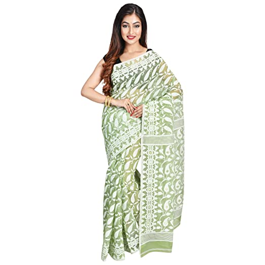 ea00ad1d3b Image Unavailable. Image not available for. Color: Ruprekha Fashion Woman's  Pista Green Cotton Silk Handloom Dhakai Jamdani Saree ...