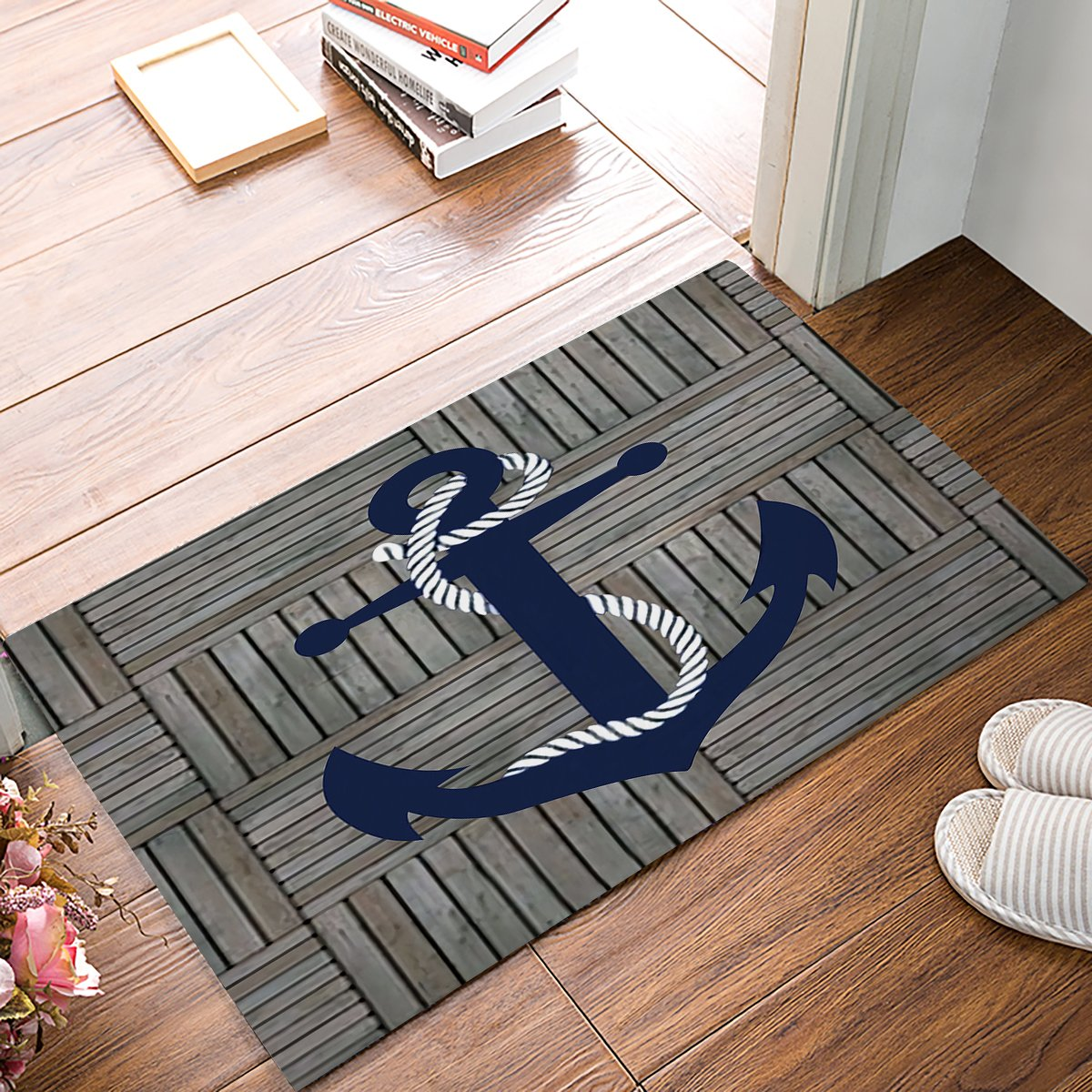 Nautical Anchor Custom Door Mat, Vintage Wood Rustic Indoor Outdoor Non-slip Rubber Entrance Rugs for Bathroom/Front