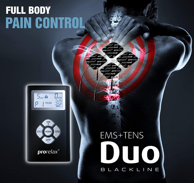 prorelax DUO Blackline Reizstromger/ät inklusive EMS TENS Elektroden-Set EMS Muskelstimulator schwarz EMS und TENS Massageger/ät TOTAL FITNESS EMS-Training Muskel-Aufbau und Schmerz-Linderung