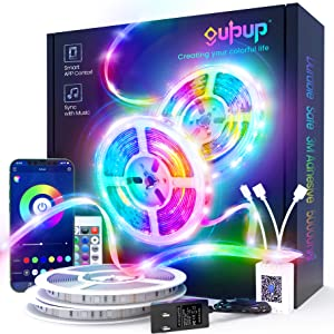100 FT Long LED Strip Lights, GUPUP LED Lights for Bedroom 100 ft, Color Changing Light Strip with Sync to Music, Smart Lights Controlled via Bluetooth APP and IR Remote.