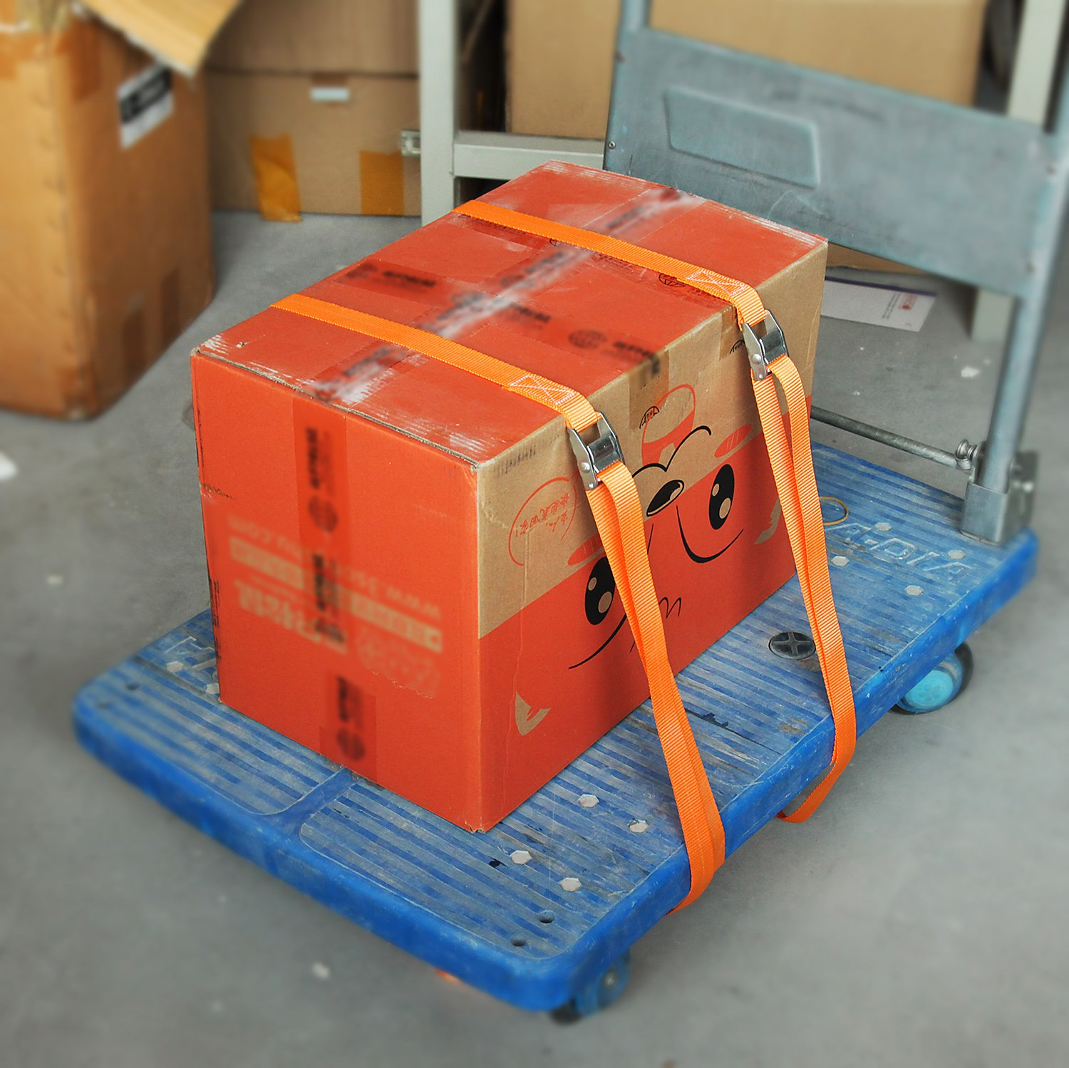 2pk Orange CARTMAN 1 x 12 Lashing Straps up to 600lbs