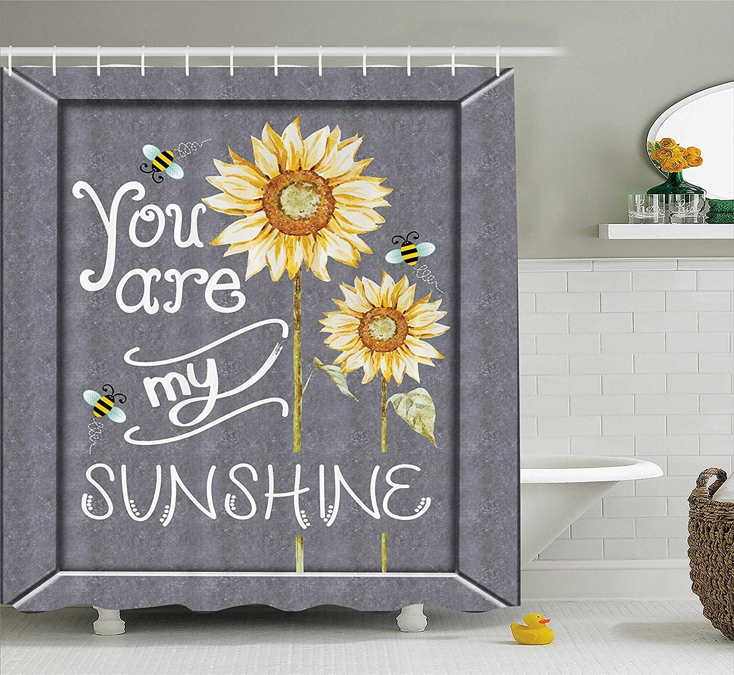 You are My Sunshine Quote on a Black Board with Bees and Sunflowers Custom  Waterproof Fabric Shower Curtain - Bathroom Decor 8x8 inch