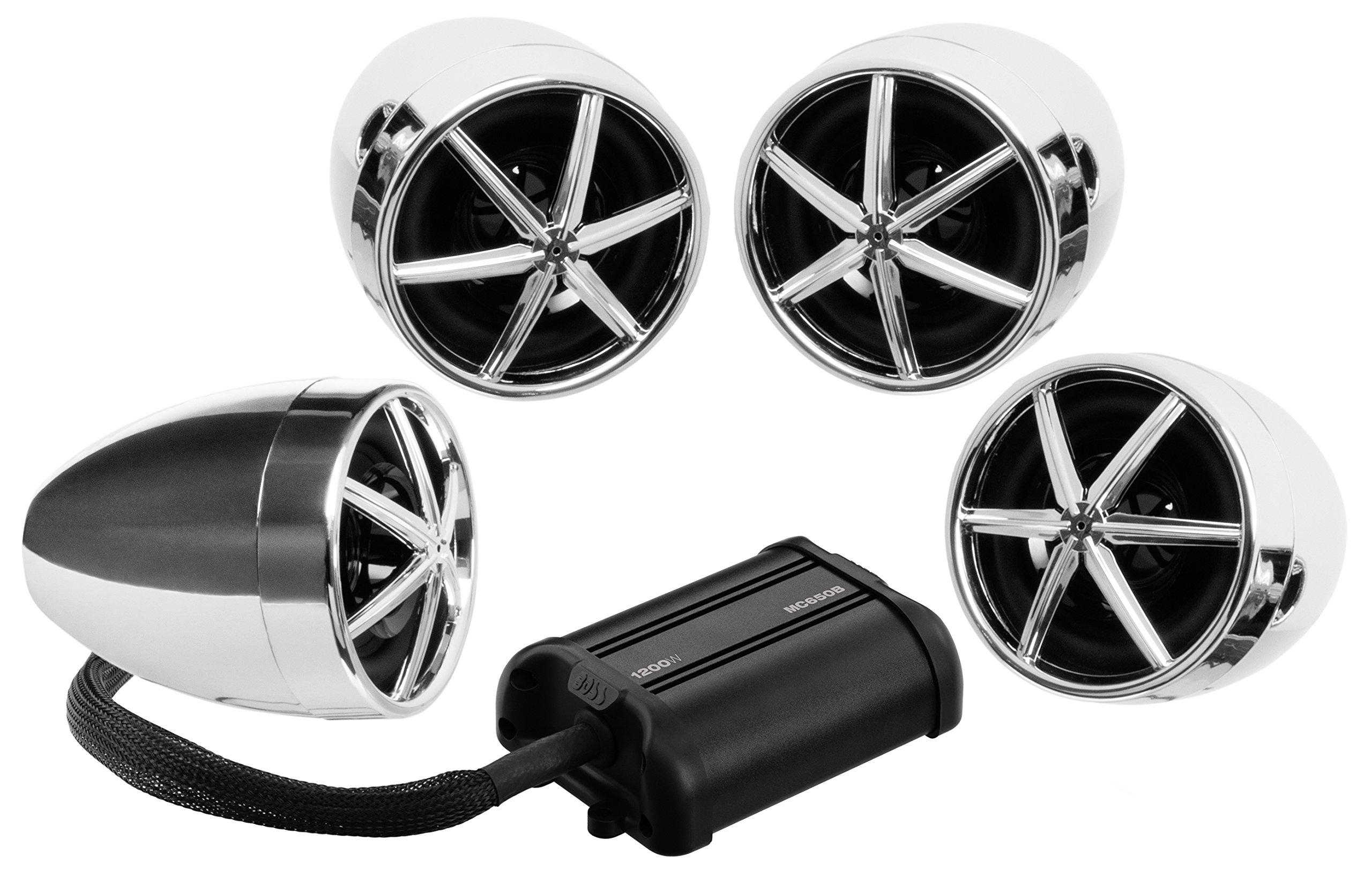 Boss MC650B 1200w Bluetooth (4) Speaker+Amplifier Handlebar System Motorcycle/ATV
