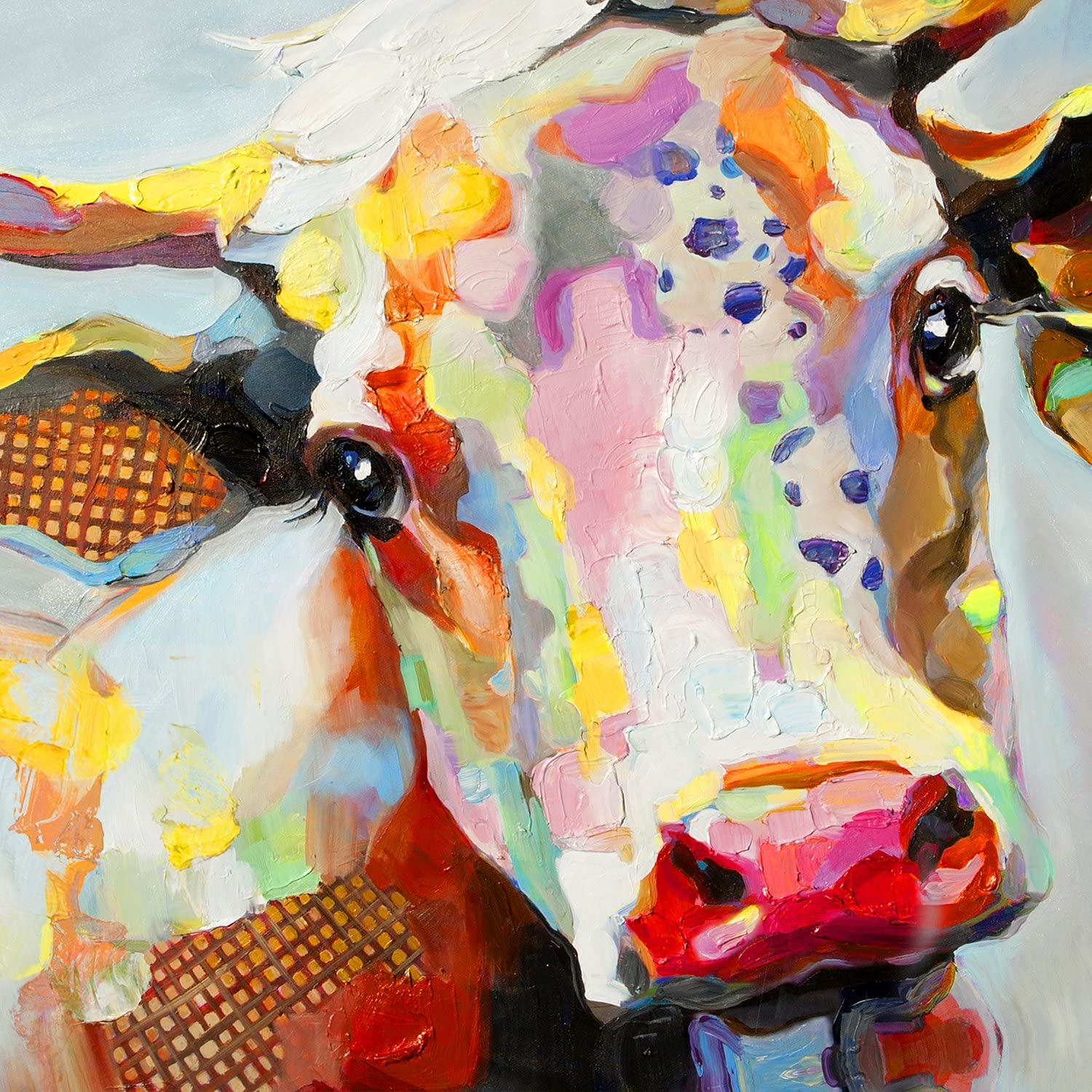 Colourful Cow Splatter Wall Art Printed Canvas Stretched Over Solid Pine Frame