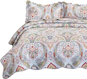 Bedsure 100% Cotton Printed King Quilt Set - Vintage Paisley Pattern, Pre-Washed, 3-Piece Quilt with 2 Shams - All-Season Bed Cover Machine Washable Bedspread Coverlet