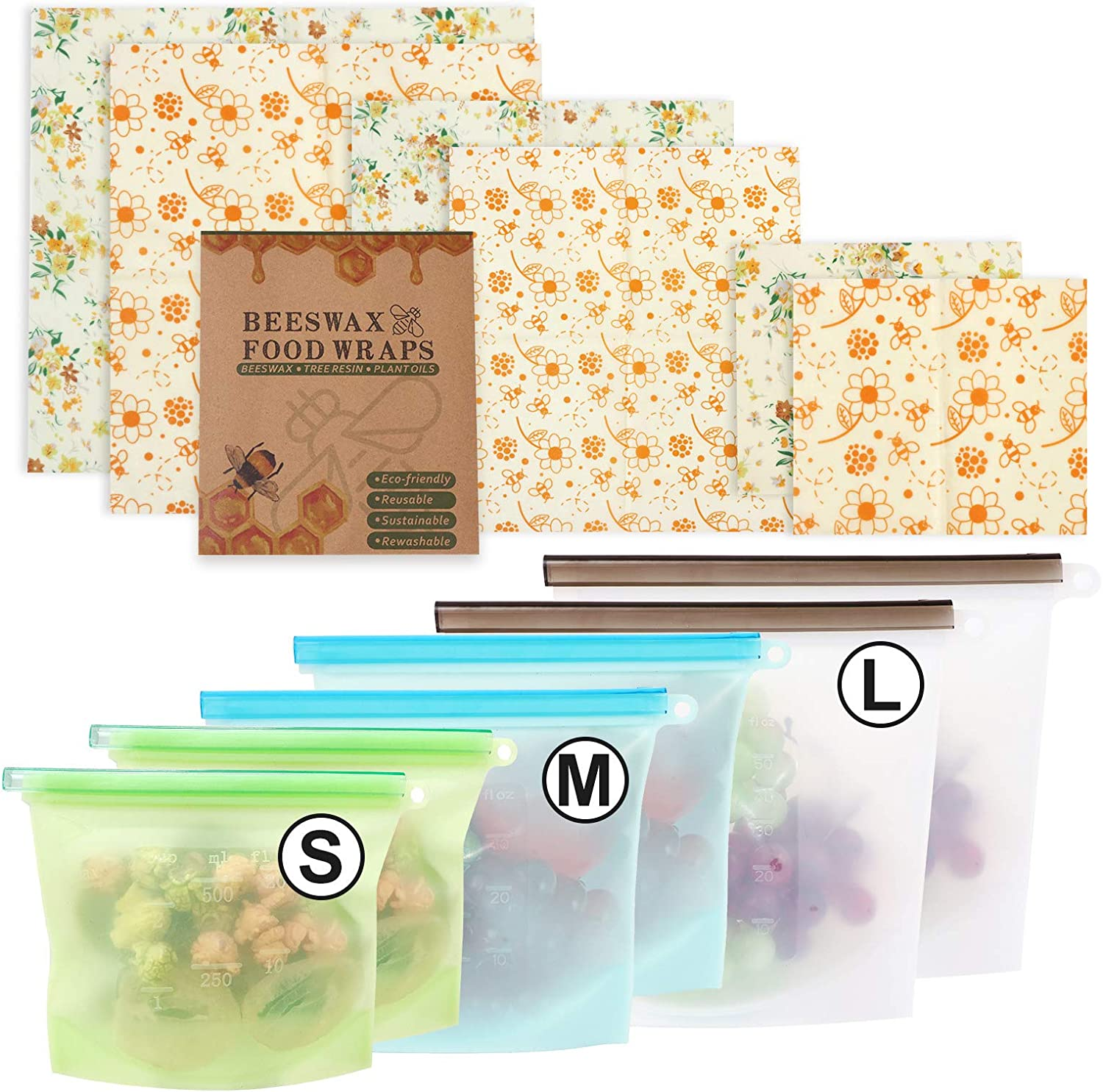 12 Pack Beeswax Reusable Food Wraps & Silicone Food Storage Bag, Eco-Friendly Reusable Beeswax Wraps, Airtight Seal Food Preservation Bags for Vegetable, Fruit, Snack, Lunch