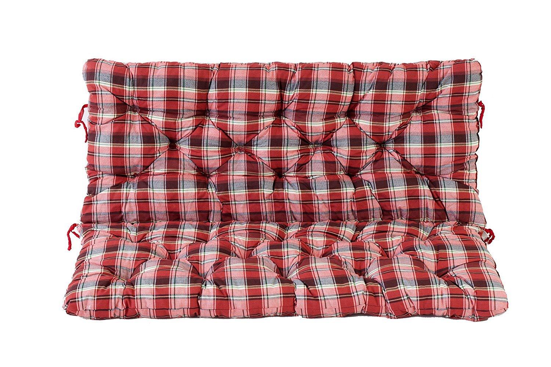 Ambient home Coussin /à carreaux pour Banc de jardin HANKO Rouge 120 x 95 x 8 cm 90631