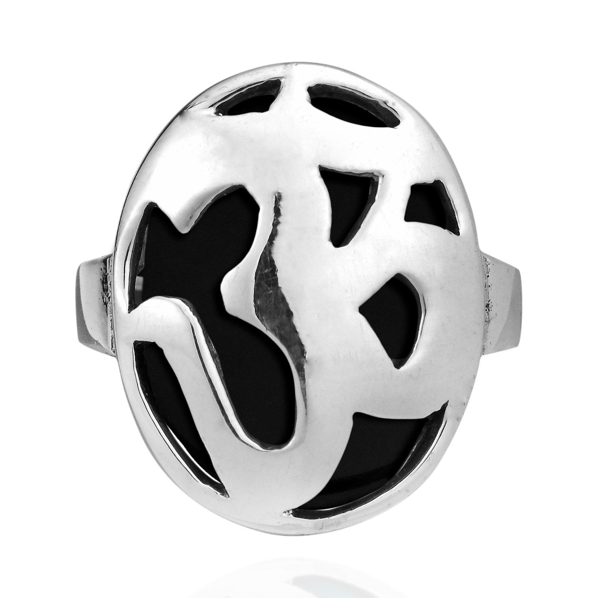 AeraVida Aum or Om Prayer Symbol Simulated Black Onyx .925 Sterling Silver Ring (9)