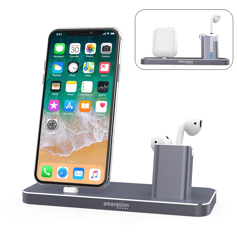 Amavasion Estuche de Carga AirPods de,Base de Carga para iPhone,estación de Soporte de Cargador 2 en 1 Auriculares inalámbricos de Bluetooth AirPods iPhone ...
