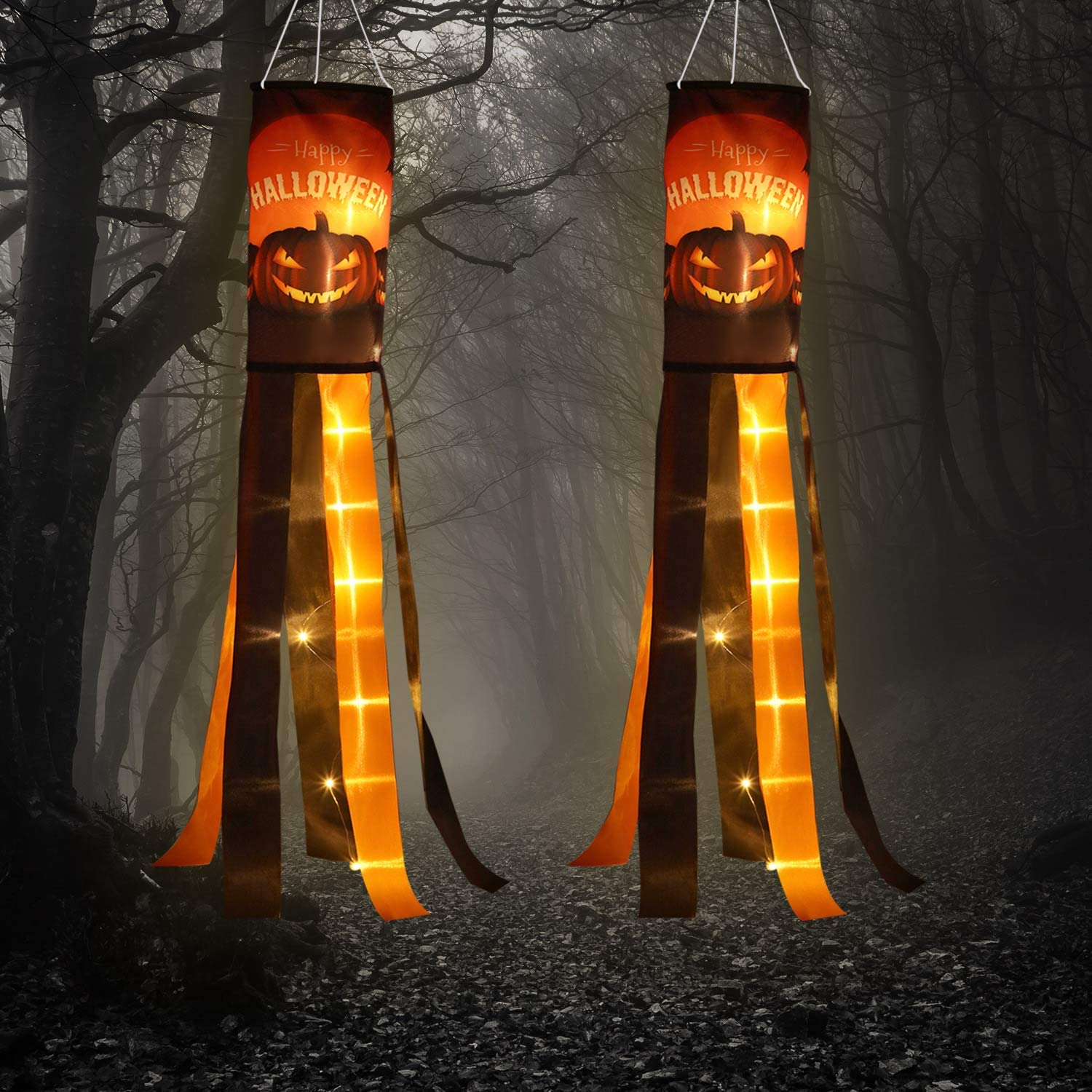 Frienda 2 Pack Halloween Pumpkin Windsock Flag with Warm Yellow LED Lights Outdoor Happy Halloween Hanging Decor for Yard Patio Garden Pathway Party Decoration