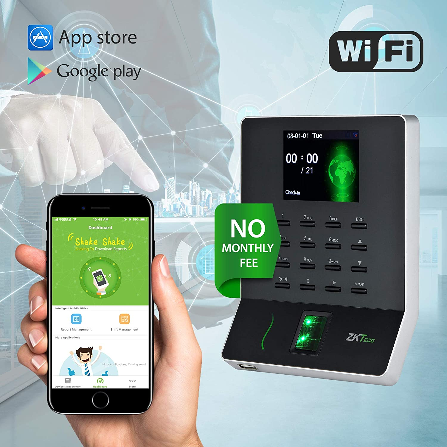 WL20 Biometric Fingerprint Time Attendance Terminal Time Clock Attendance  Machine Payroll Recorder Employee Checking-in Recorder