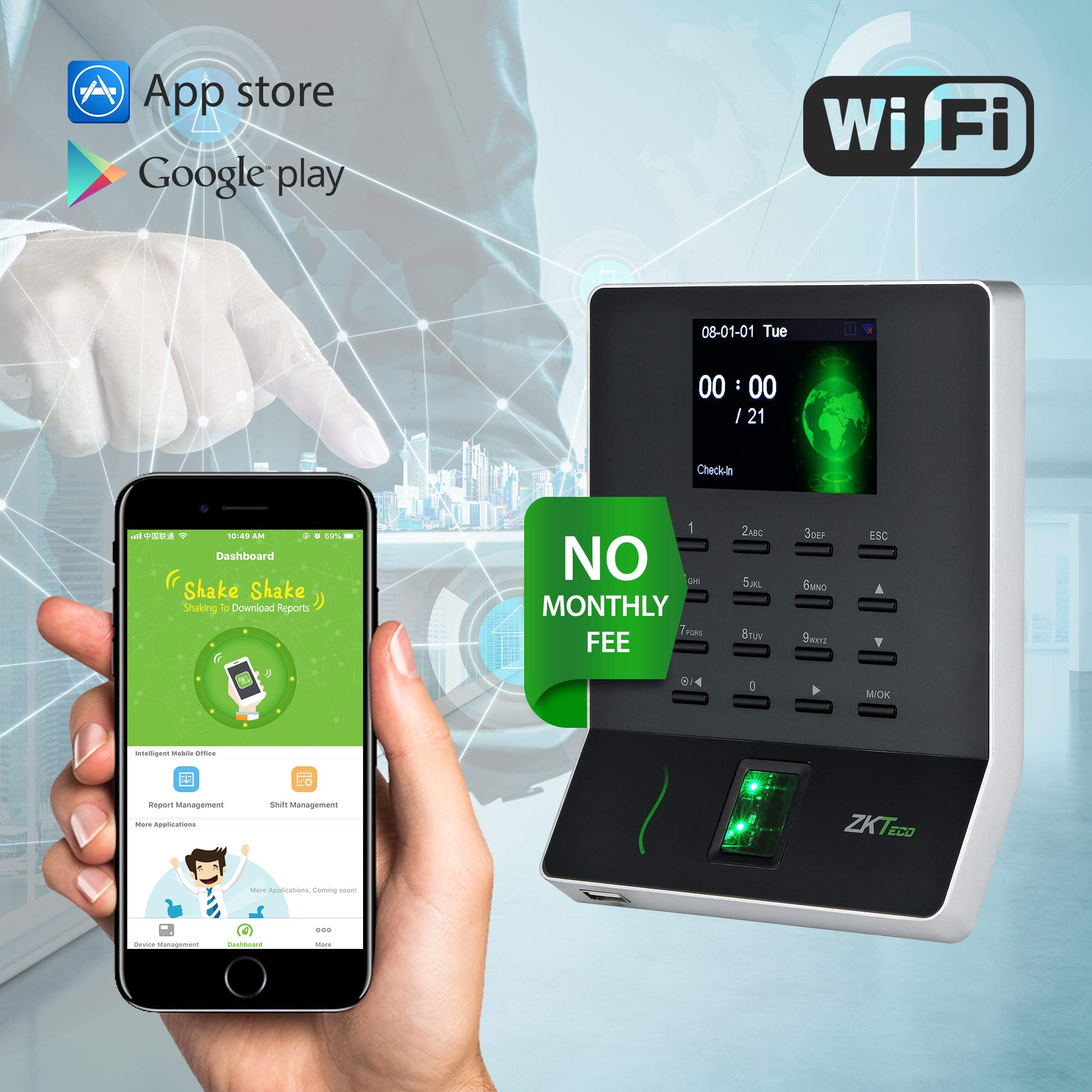 WL20 Biometric Fingerprint Time Attendance Terminal Time Clock Attendance Machine Payroll Recorder Employee Checking-in Recorder by ZKTeco
