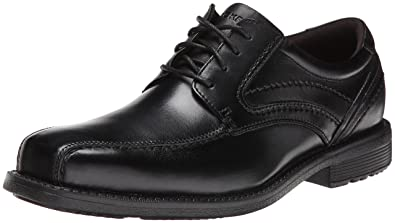 Rockport Men's Style Leader 2 Bike Toe Oxford Black Waxed Calf 8 W (EE)