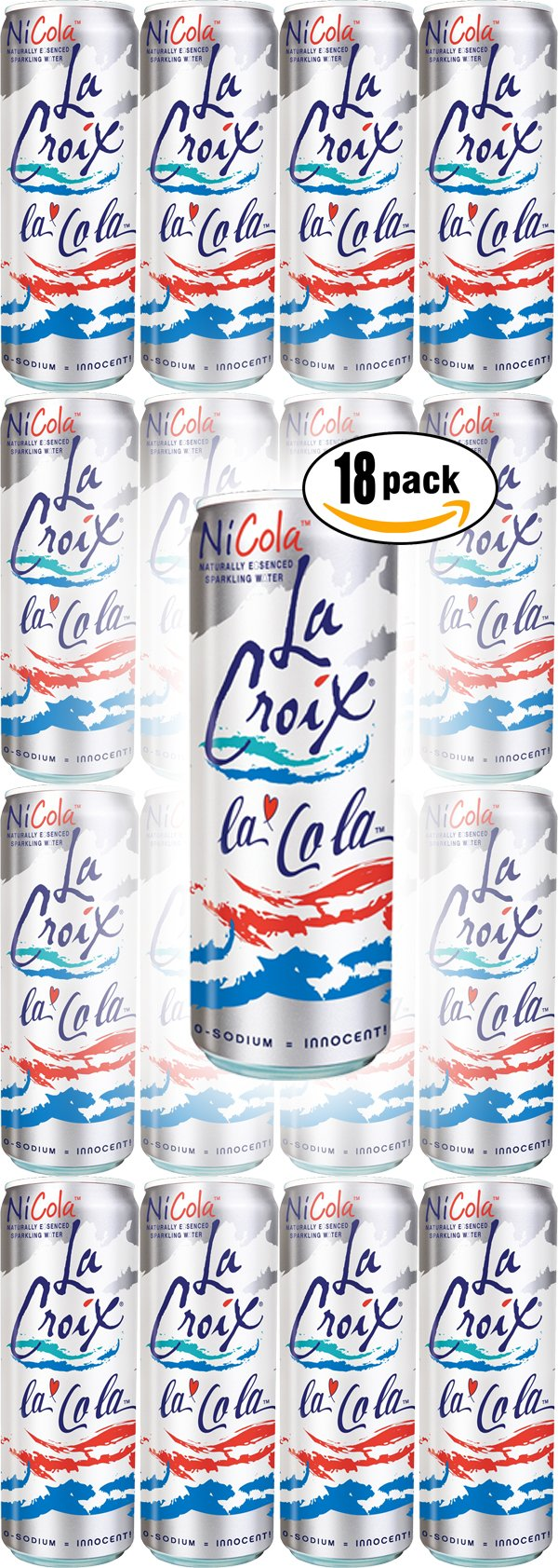 La Croix La Cola Naturally Essenced Flavored Sparkling Water, 12oz Can (Pack of 18, Total of 216 Oz) by La Croix