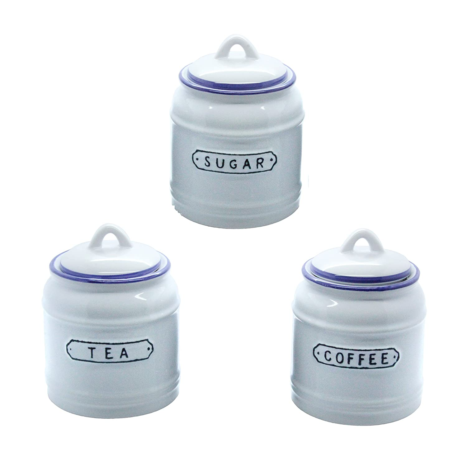 Retro Tea, Coffee and Sugar Canister Set in Vintage Blue and White ...