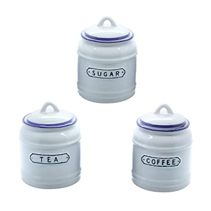 Retro Tea Coffee And Sugar Canister Set In Vintage Blue And White Ceramic