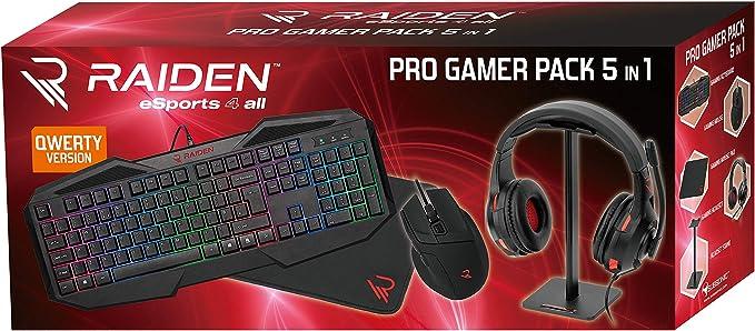 - Raiden - Paquete de accesorios de juego 5 en 1 para PC - Teclado QWERTY - Ratón - Alfombrillas - Soporte para auriculares y cascos (Windows 8)