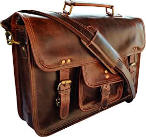 Rustic Town 15 inch Leather Laptop Messenger Bag Computer Satchel Briefcase Bag