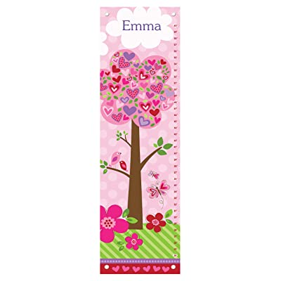 Personalized Growth Chart for Baby Girl, Height Ruler, Pink Nursery Décor, Flowers and Hearts: Baby