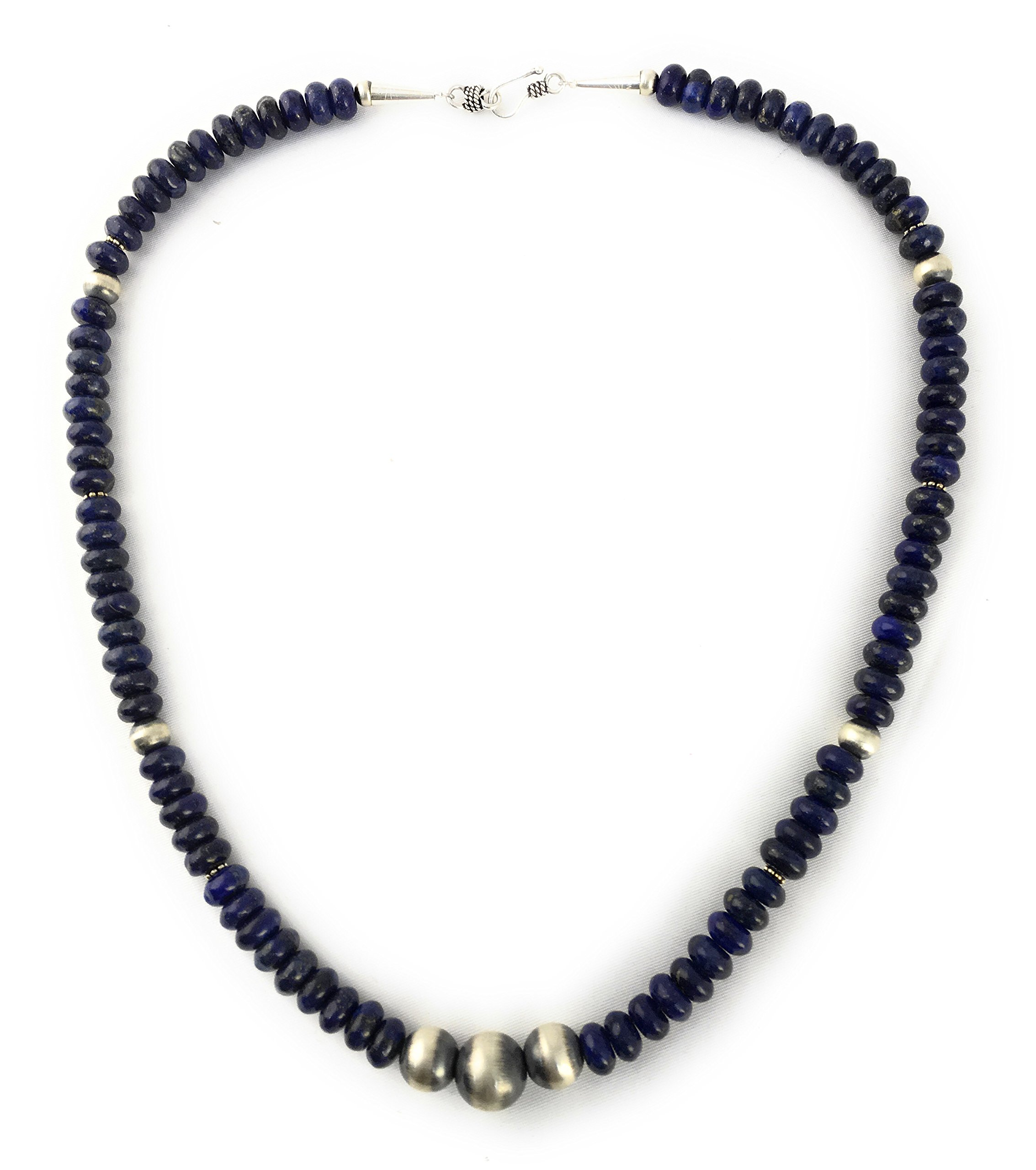 Masha Storewide Sale ! Sterling Silver Necklace By Lapis, Saucer Beads, Made in USA - Exclusive Southwestern Handmade Jewelry, 20'' in Length Gift