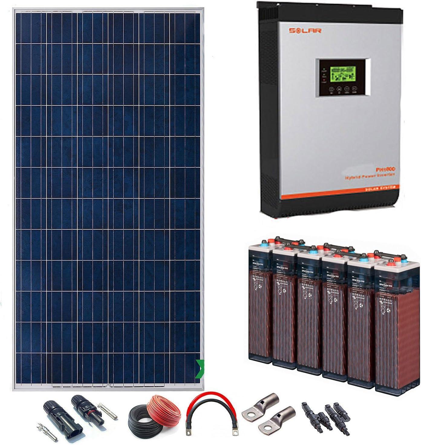 Kit Solar 48v 2000w/10000w día Batería 6OPzS 900Ah Inversor Multifunción 5kva Regulador MPPT 60A