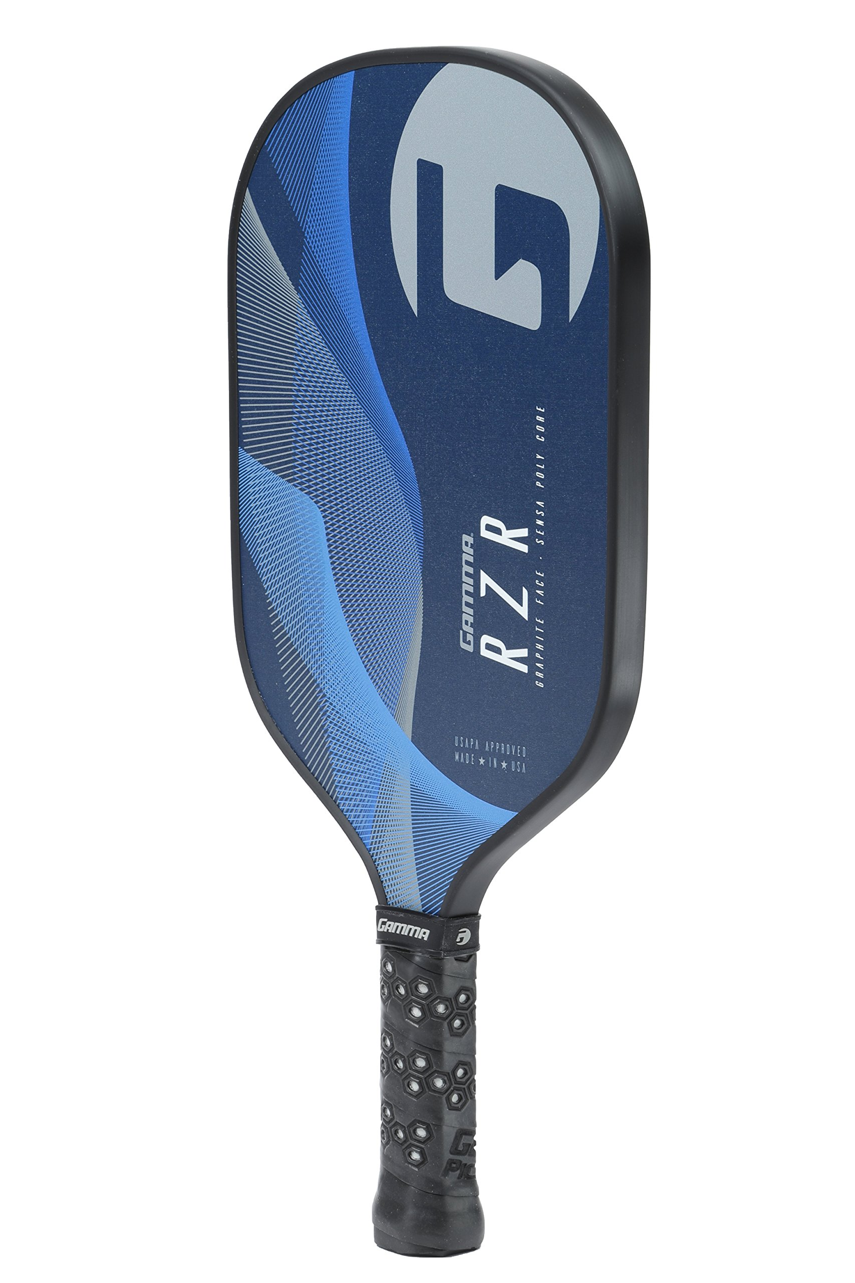 Gamma RZR Composite Pickleball Paddle: Pickle Ball Paddles for Indoor & Outdoor Play - USAPA Approved Racquet for Adults & Kids - Blue/Grey by Gamma (Image #4)