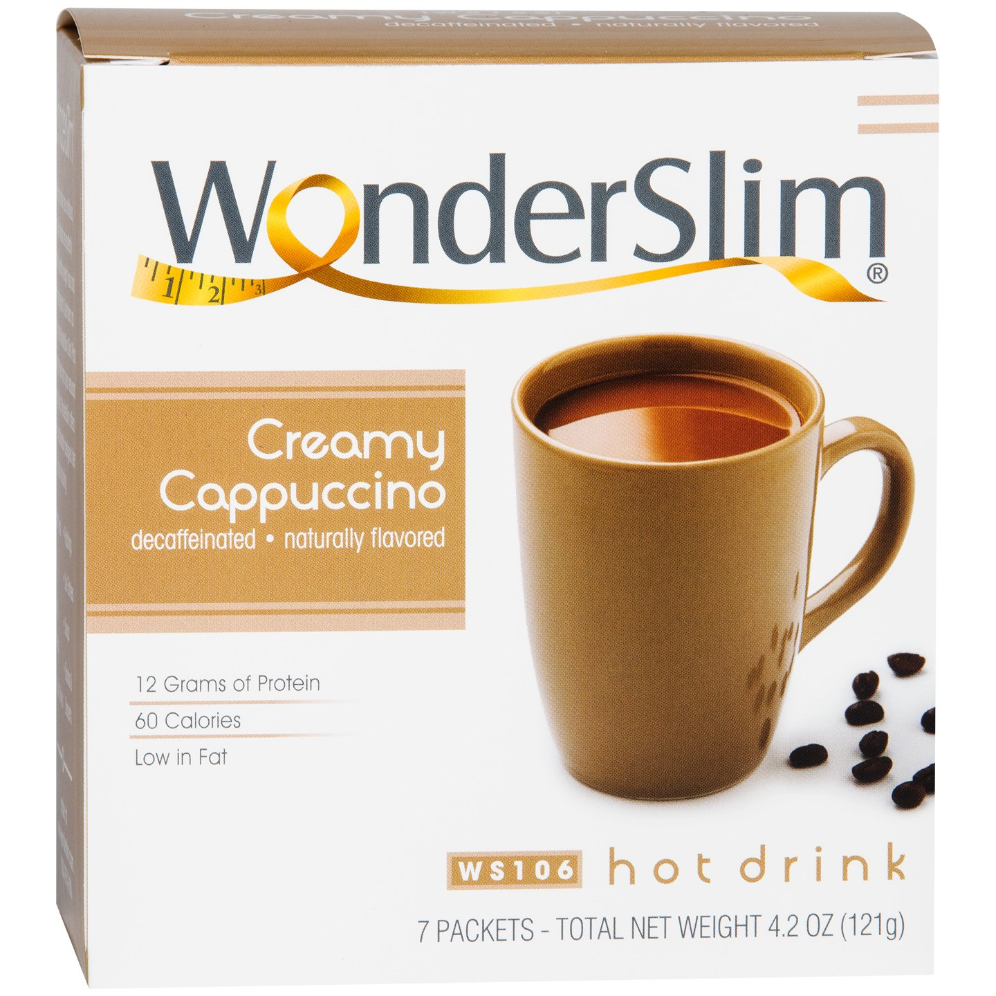WonderSlim Low-Carb High Protein Powder Diet/Weight Loss Instant Hot Drink Mix - Cappuccino (7 Servings/Box) - Low Carb, Low Calorie, Low Fat, Cholesterol Free