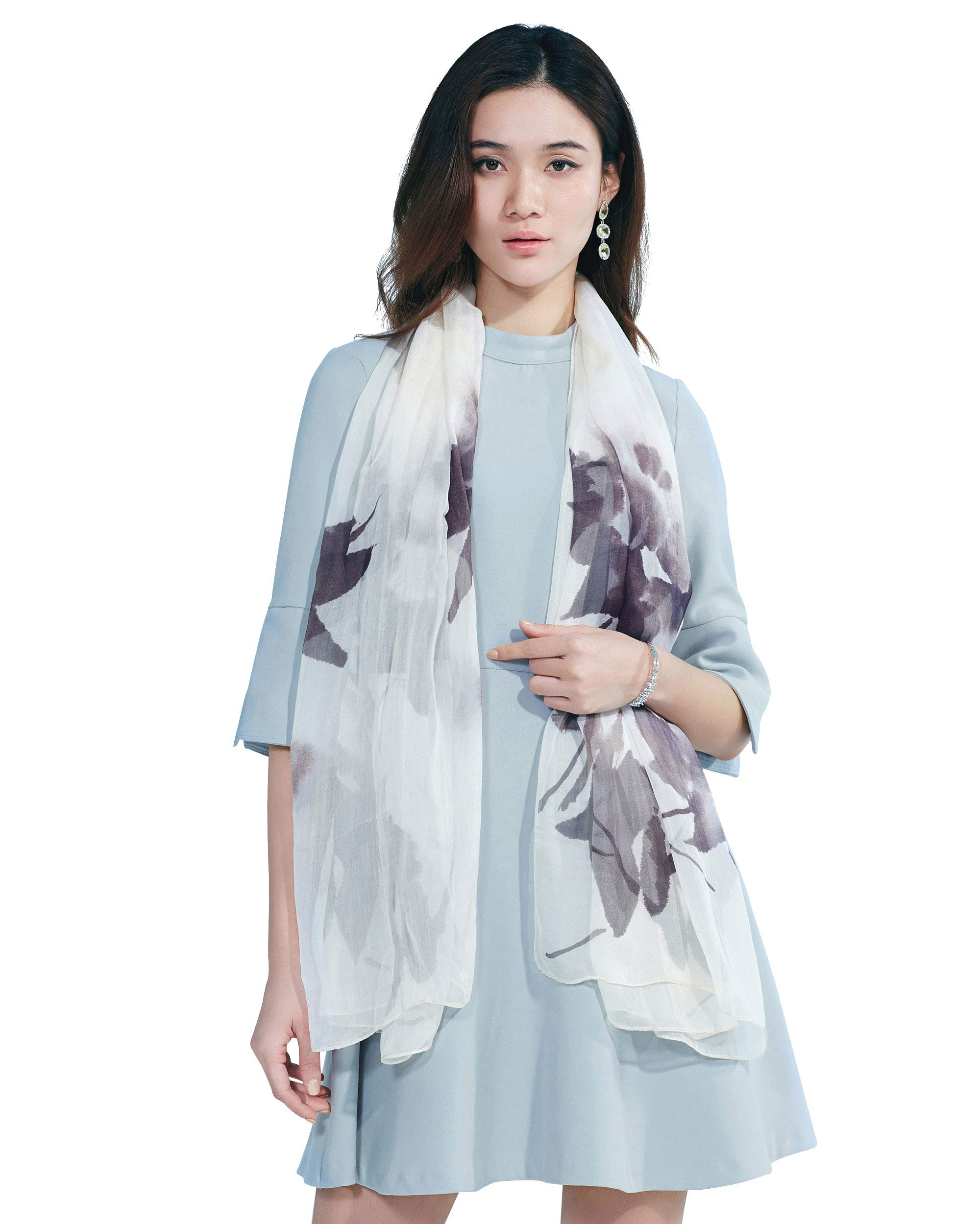 STORY OF SHANGHAI Womens 100% Mulberry Silk Head Scarf For Hair Ladies Floral And Butterfly Scarf,black flower,One Size
