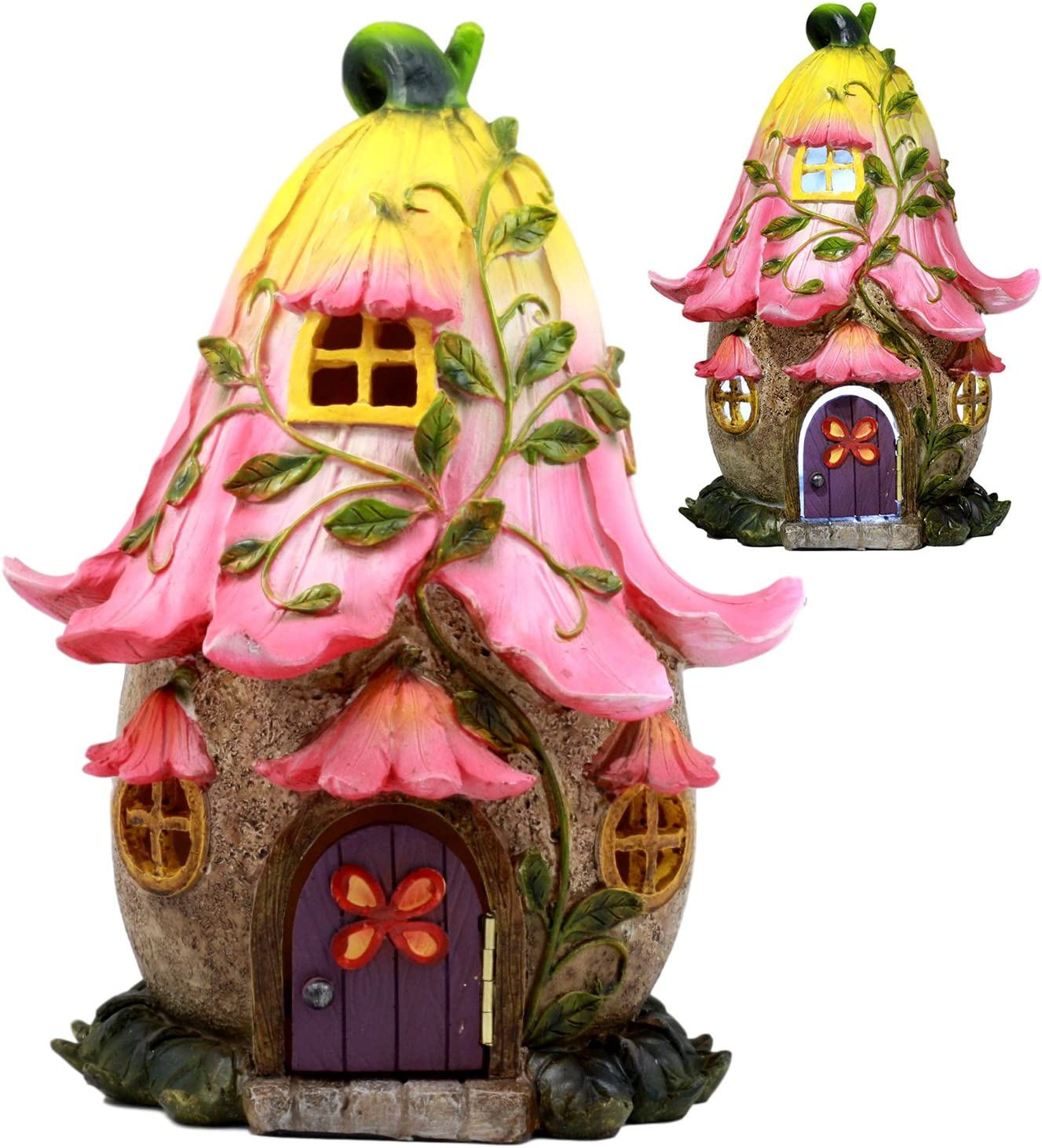 Ebros LED Light Up Miniature Enchanted Fairy Garden Trumpet Lily Cottage House with Moving Door Figurine