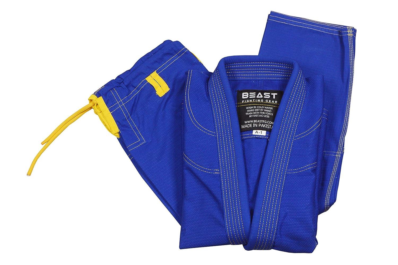 Beast Fighting Gear Brazilian Jiu Jitsu Giパール織り100 %ブルーカラーwith Freeブルーベルト ブルー A0-F