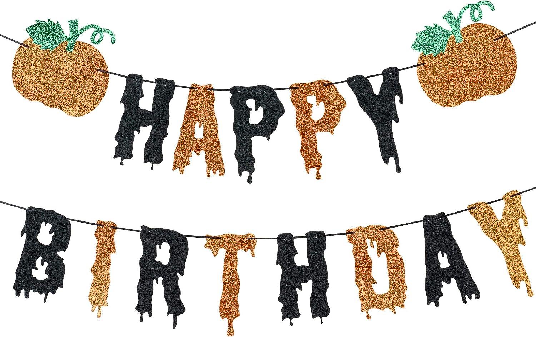 Birthday Banner Happy Halloween Trick or Treat Halloween Themed Birthday Halloween Birthday Decor Happy Birthday Halloween Banner