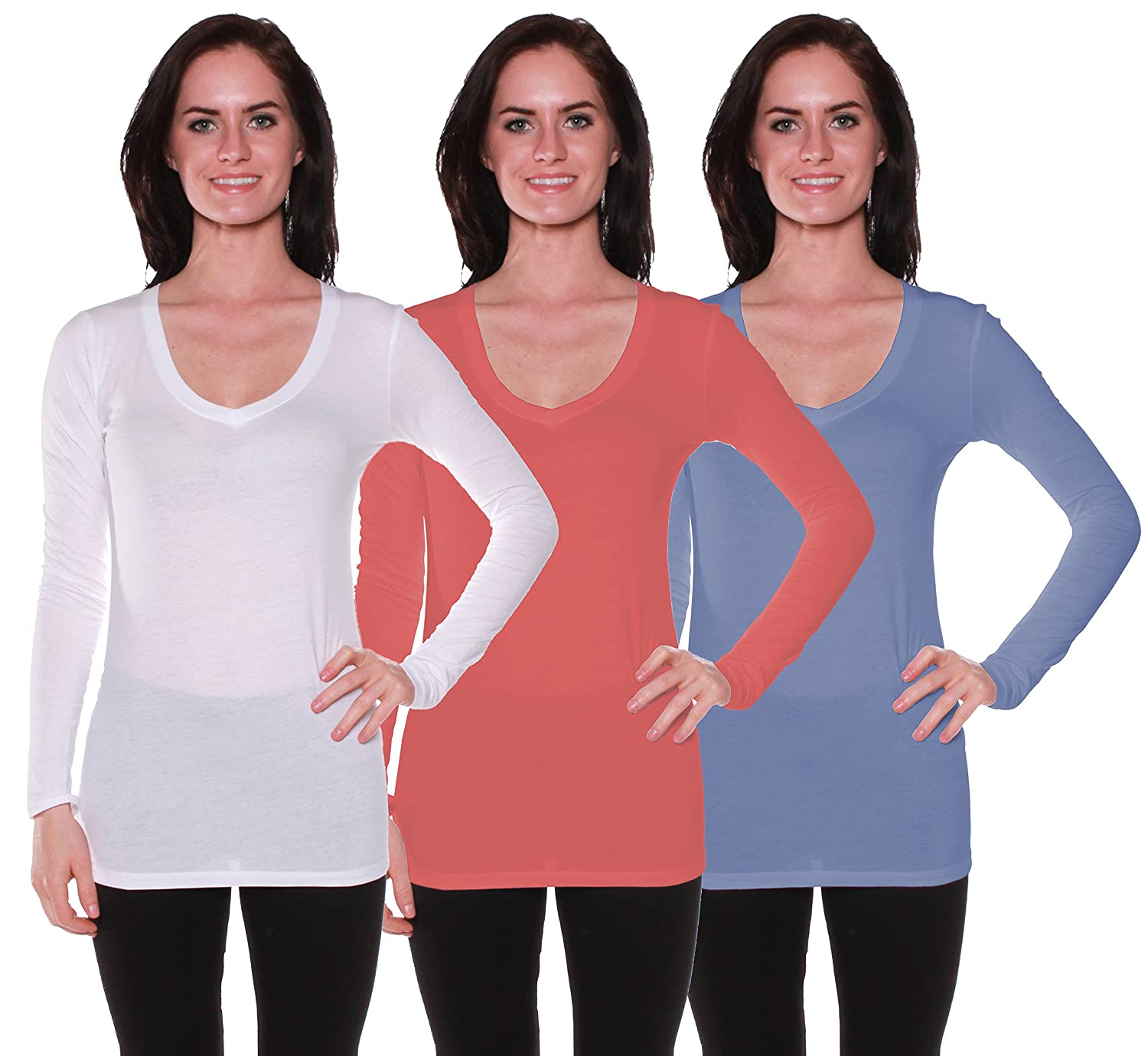 Active Basic Women's Long Sleeve V-Neck T Shirts 3 Pack(Wht/Dk Ros/Dst Blu-S)