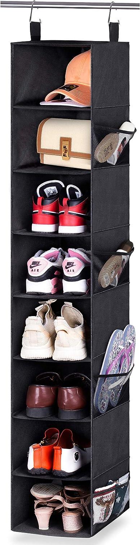 AOODA 8-Shelf Hanging Shoe Rack for Closet Organizer with 8 Mesh Side Pockets Wide Hanging Shoe Storage Holder for Hat, Clothes, Handbag, Black