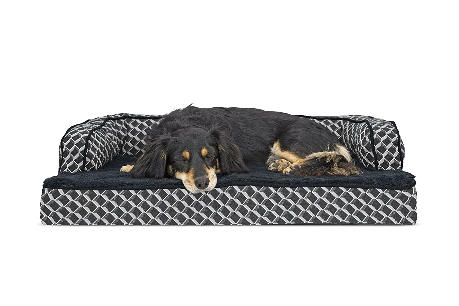 FurHaven Pet Dog Bed   Memory Foam Plush & Decor Comfy Couch Sofa-Style Pet Bed for Dogs & Cats, Diamond Grey, Medium