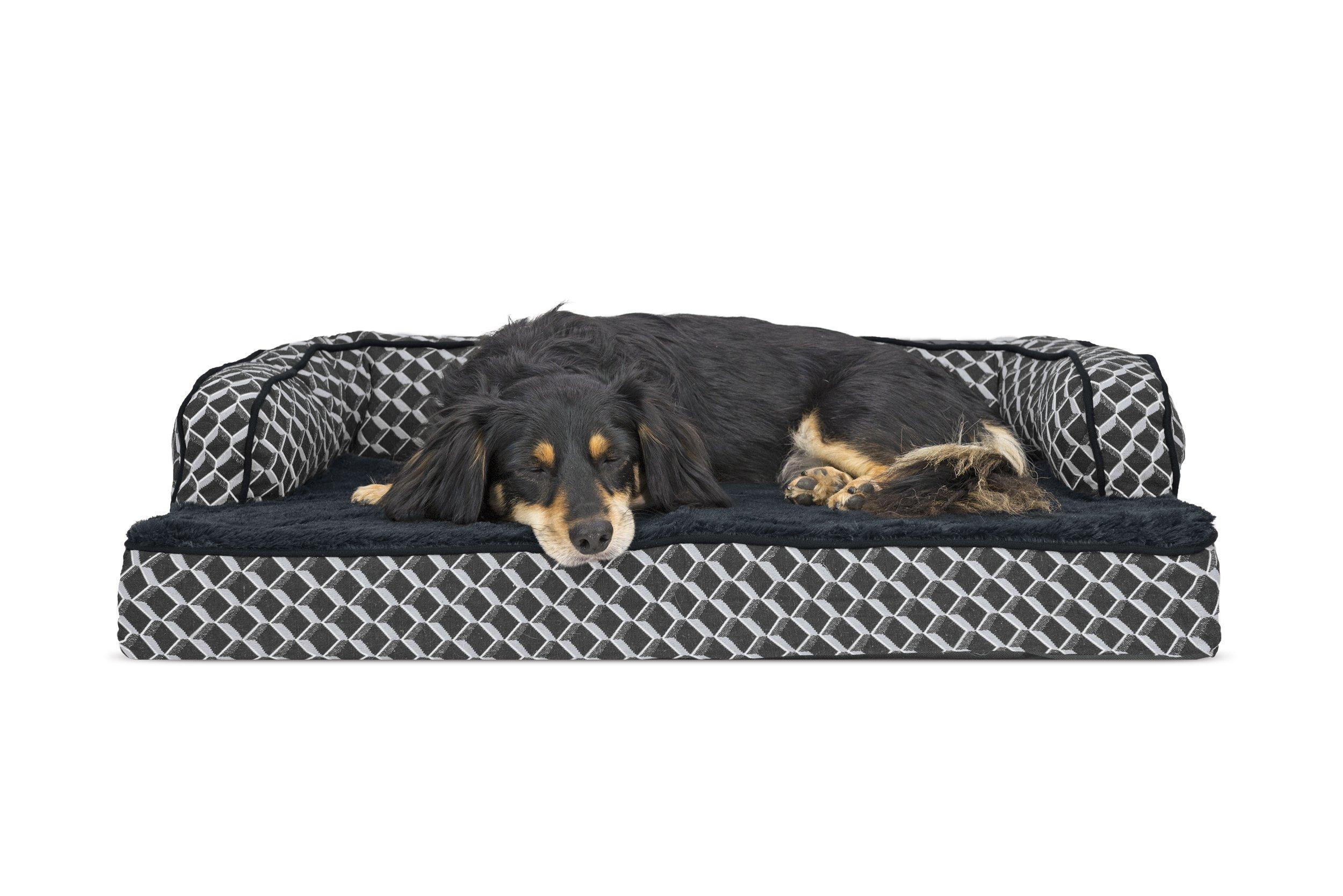 Furhaven Pet Plush & Decor Comfy Couch Memory Foam Sofa-Style Pet Bed, Medium, Diamond Grey