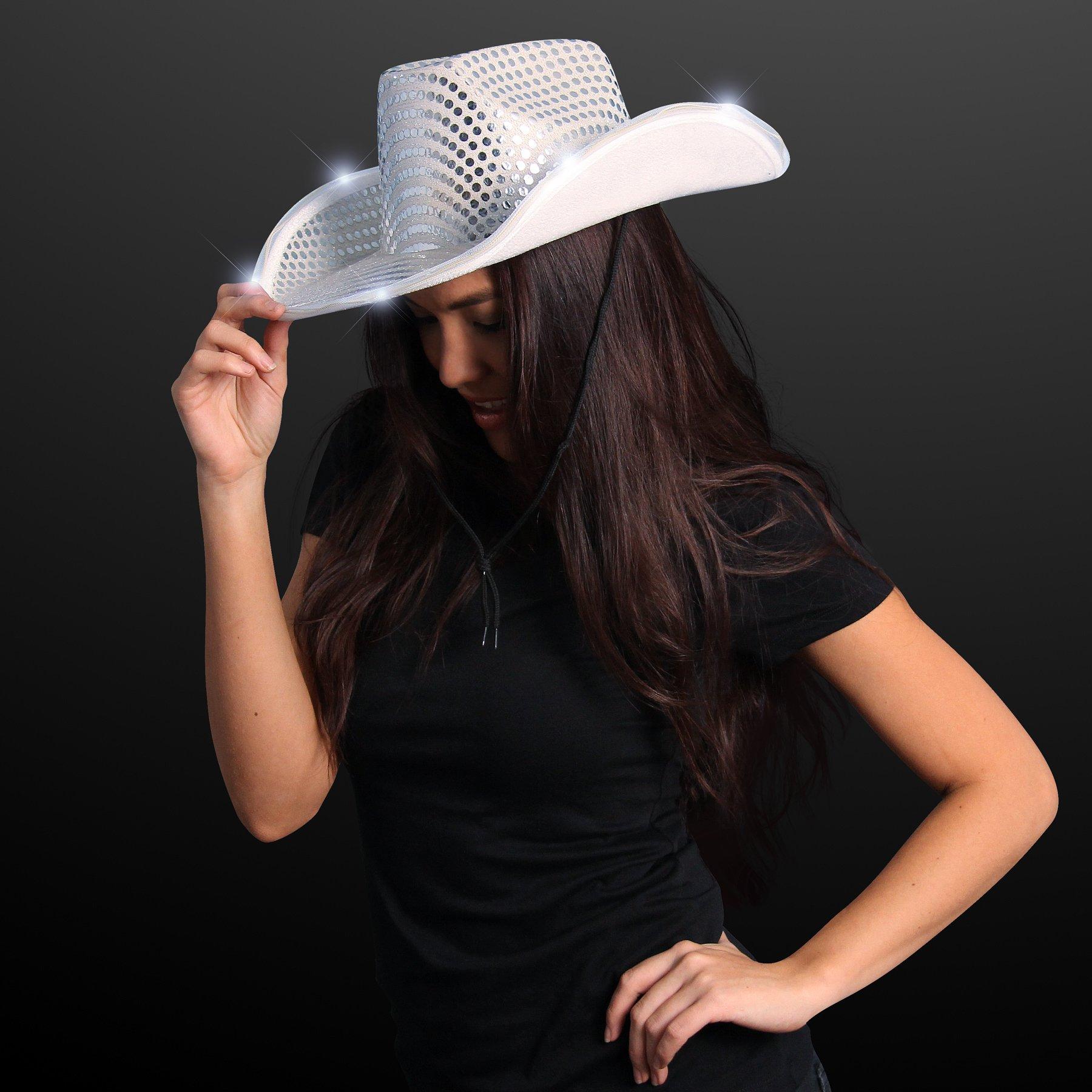 FlashingBlinkyLights Silver Sequin Light Up LED Cowboy Hat by FlashingBlinkyLights