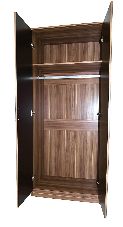 3 Piece Bedroom Set Black High Gloss Walnut Frame Double Wardrobe, Bedside  Cabinet, Chest Of Drawers: Amazon.co.uk: Kitchen U0026 Home