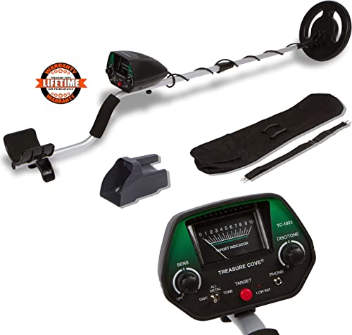 TREASURE COVE 1023 Metal Detector Kit, Easy to Use Operate for Adults or teens, Waterproof Search Coil, Accessories Bag Sand Scoop, Adjustable Height Volume, High Accuracy Easy to Read Display