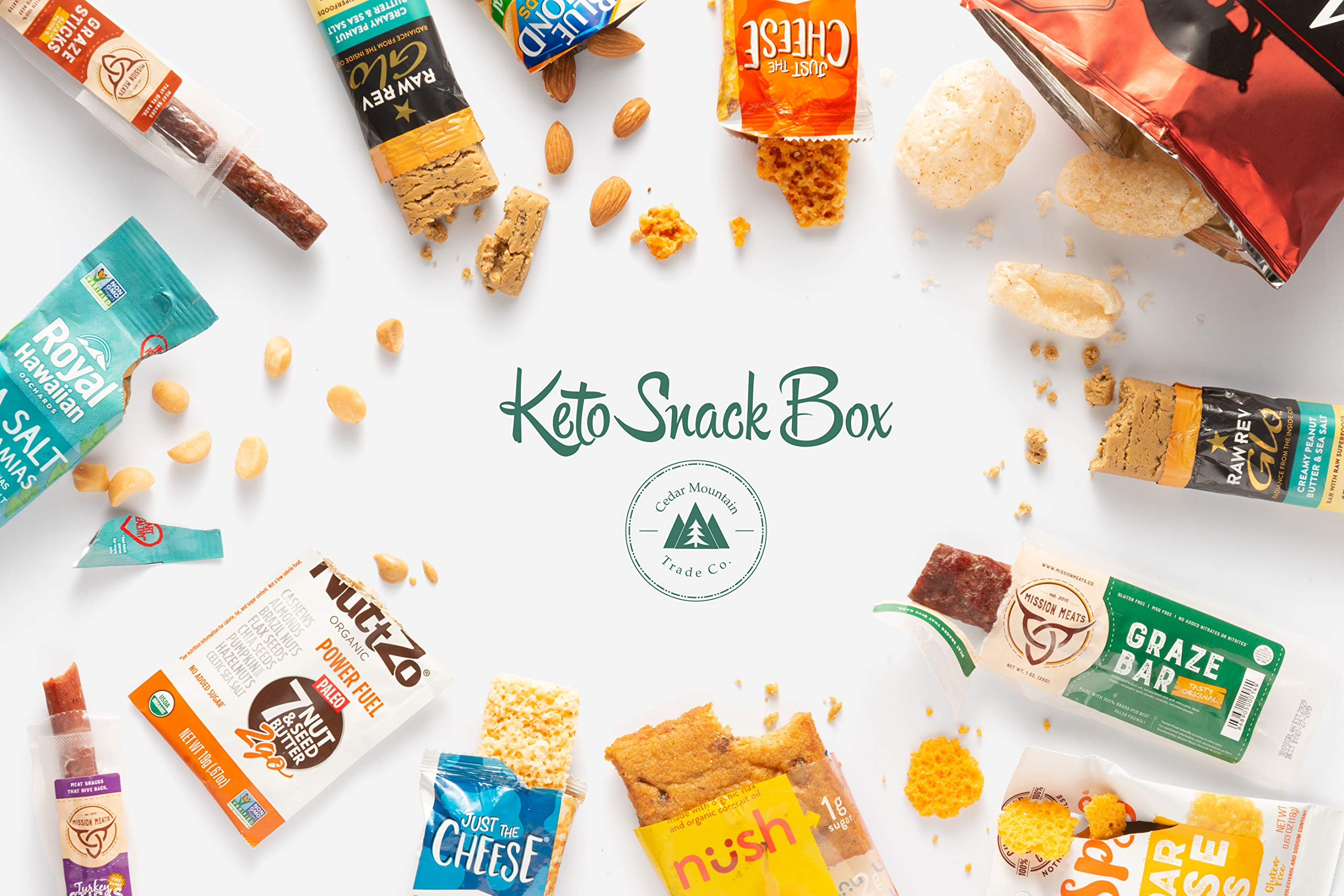Keto Snack Box (40 Count)-Ultra Low Carb Snacks-Ketogenic Friendly, Gluten Free, Low Sugar Healthy Keto Gift Box Variety Pack - Protein Bars, Pork Rinds, Cheese Crisps, Nut, Jerky, and More by Cedar Mountain Trade Co. (Image #3)
