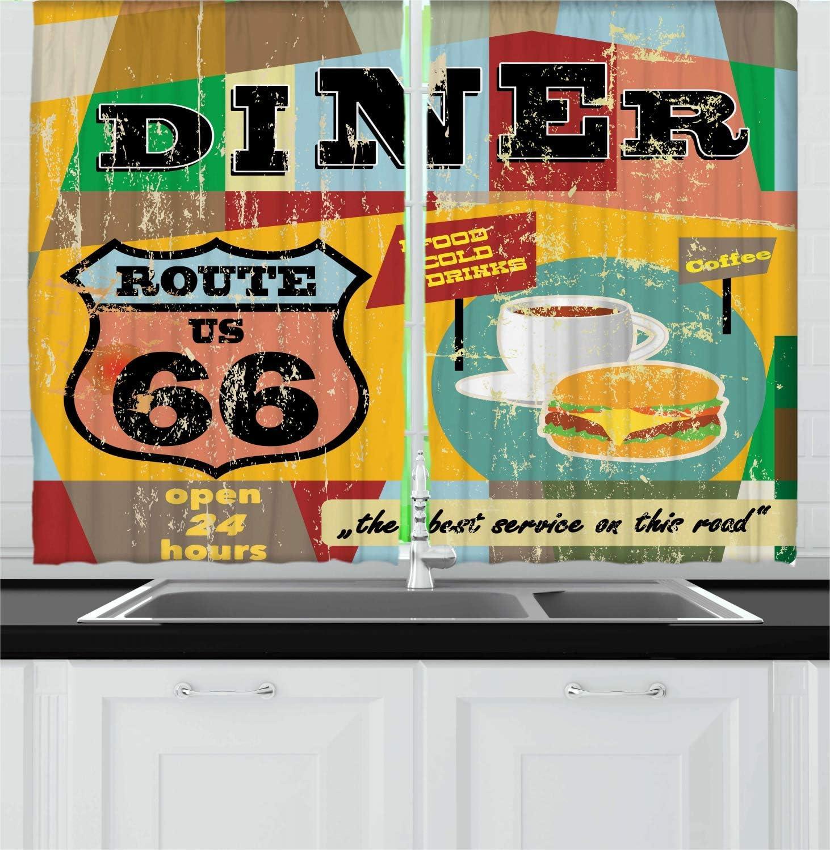 Lunarable Route 66 Kitchen Curtains, Nostalgic Diner Signboard Grunge Toned Food Drink Coffee Burger Illustration, Window Drapes 2 Panel Set for Kitchen Cafe Decor, 55